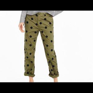 J  Crew Green Khaki polka dot pants.  Sz 16.  New